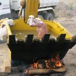 Badewanne des Bauarbeiters