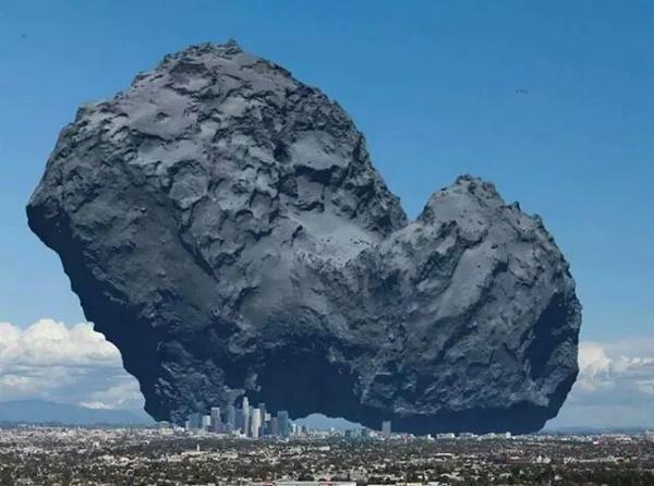 Der Komet 67P/Churyumov-Gerasimenko im Vergleich zu neiner großen Stadt (LA)